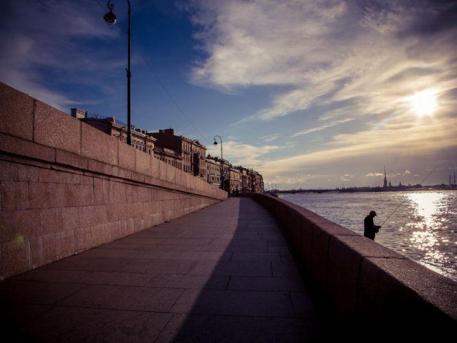 Saint Petersburg city waterfront Geneva fisherman wallpaper