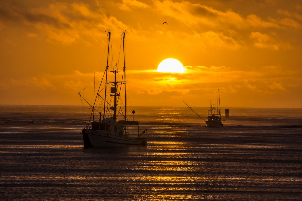 Sea Boats Fishing Sun Evening Sunset Wallpaper