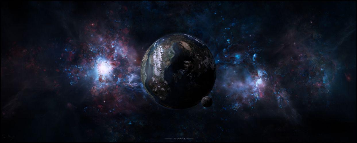 snow mountain galaxy planet wallpaper