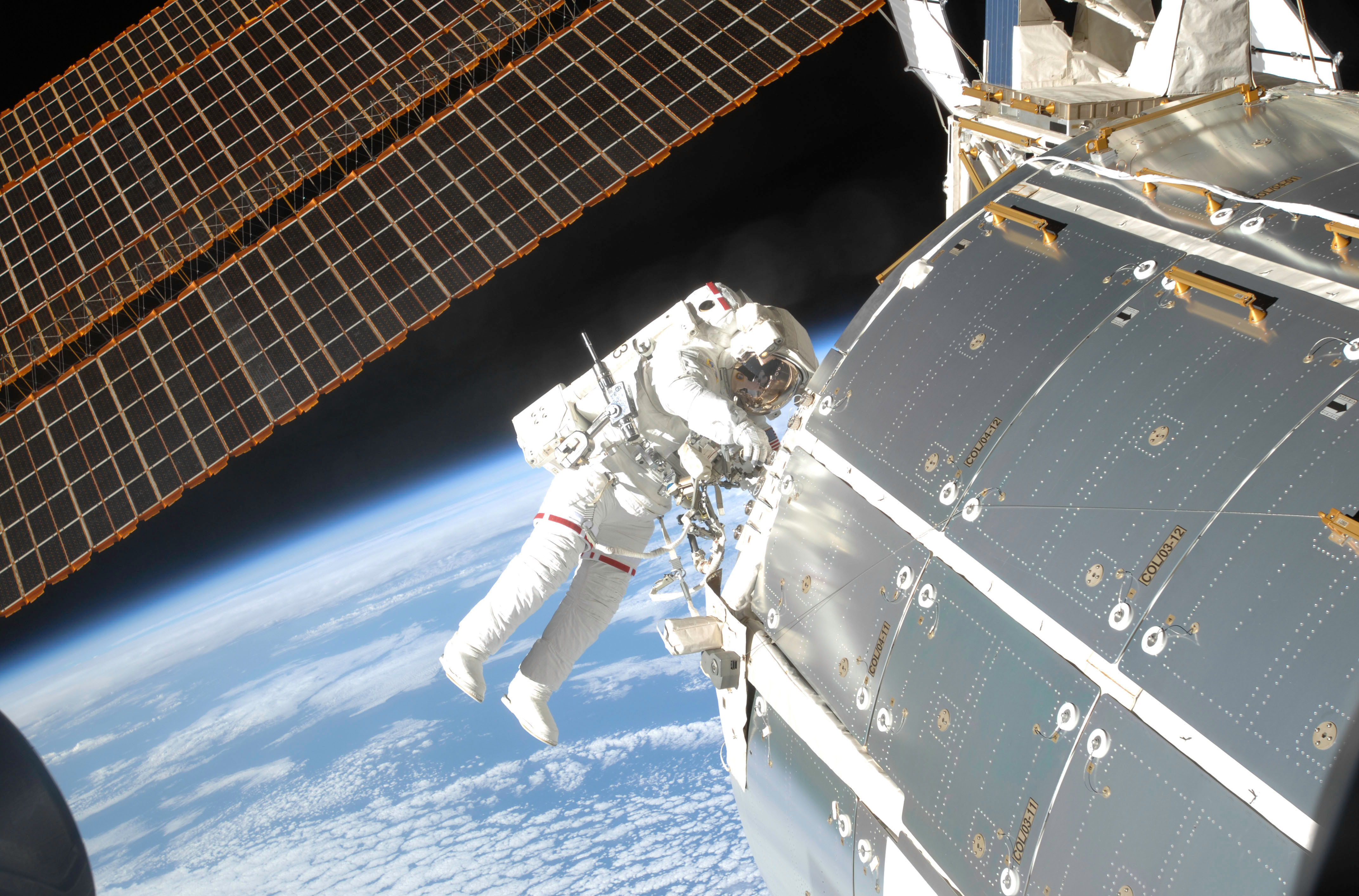Space Iss The Planet Earth An Astronaut A Module Solar
