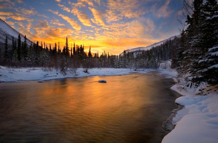 sunset river sky snow nature winter wallpaper