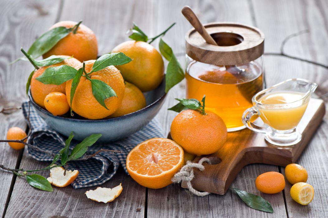 tangerines kumquats citrus honey still life wallpaper