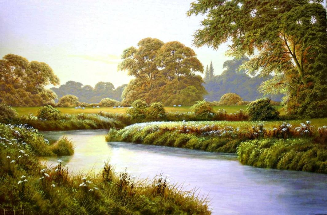 terry grundy autumn coming landscape painting river wallpaper