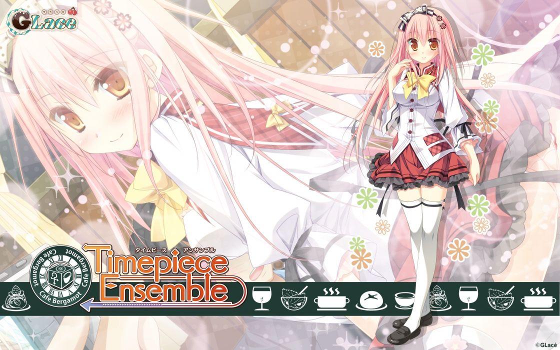 timepiece ensemble blush long hair pink hair seifuku sesena yau thighhighs timepiece ensemble yanagibashi saori wallpaper
