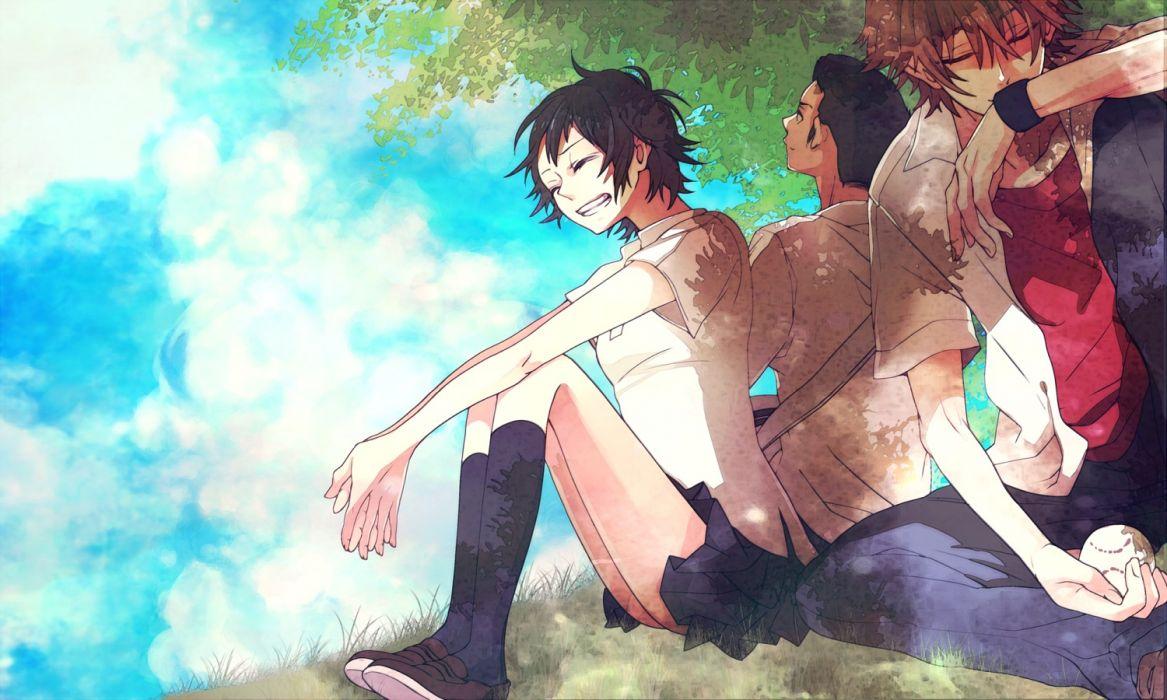 toki wo kakeru shoujo black hair brown hair clouds grass kneehighs konno makoto mamiya chiaki seifuku short hair skirt toki wo kakeru shoujo tsuda kousuke yamako wallpaper