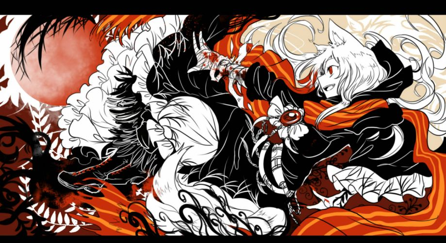 touhou animal ears bandage blood boots dress imaizumi kagerou red eyes shigureru touhou wallpaper