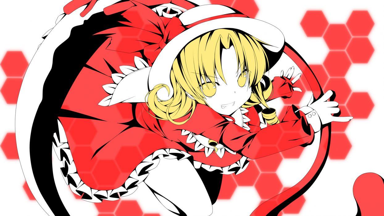 touhou blonde hair dress elly hat ribbons short hair touhou yellow eyes yuzuki kei wallpaper