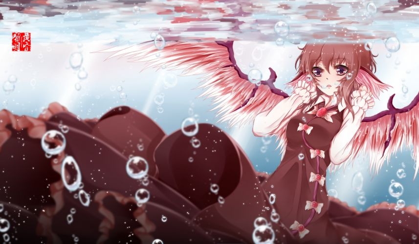 touhou brown hair bubbles dusk dawn mystia lorelei red eyes touhou underwater wings wallpaper