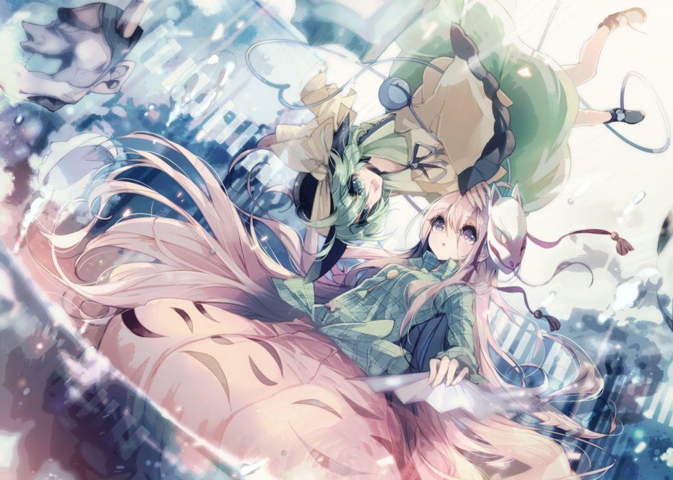 touhou girls green eyes green hair hata no kokoro komeiji koishi long hair mask pink eyes pink hair teco uk touhou wallpaper