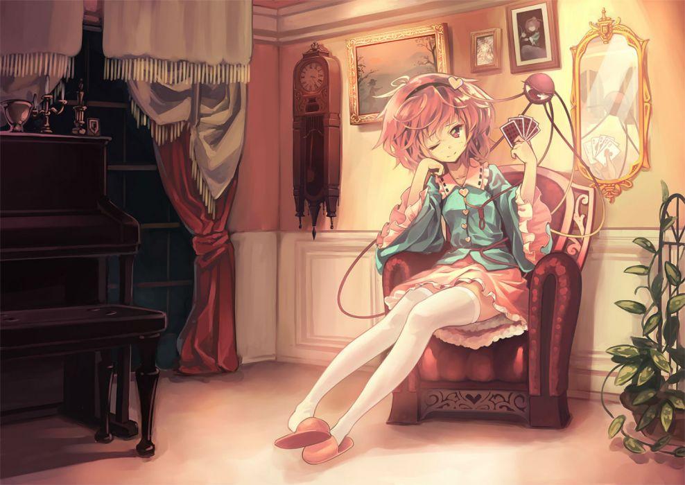 touhou instrument komeiji satori mirror orita enpitsu piano purple eyes purple hair short hair skirt thighhighs touhou wink wallpaper