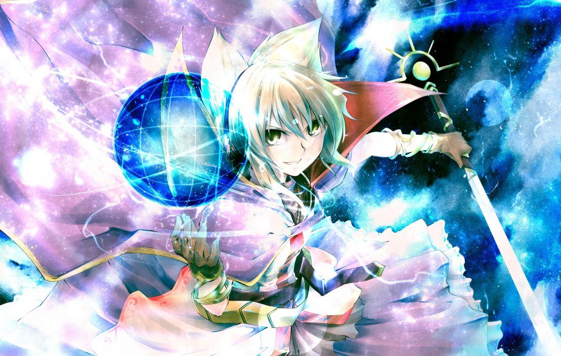 touhou gloves green eyes kakao (noise-111) magic sword touhou toyosatomimi no miko weapon white hair wallpaper
