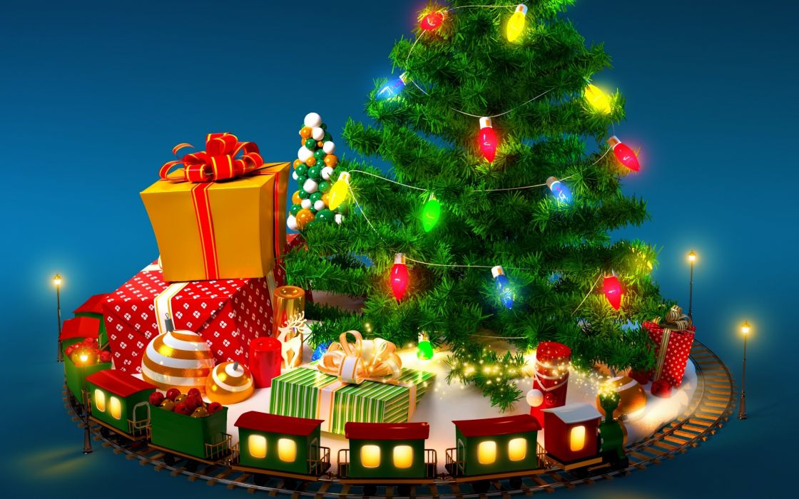 tree gifts train toys wallpaper