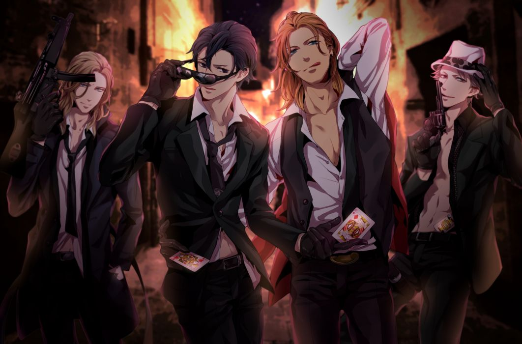 uta no prince-sama black eyes black hair blonde hair blue eyes camus gloves gray hair group gun hat long hair male moge-hera shirt short hair suit sunglasses tie weapon wallpaper