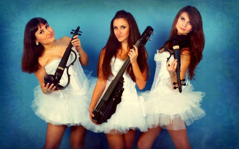 violin skripkachka violinist patterns blue white three girls electro wallpaper