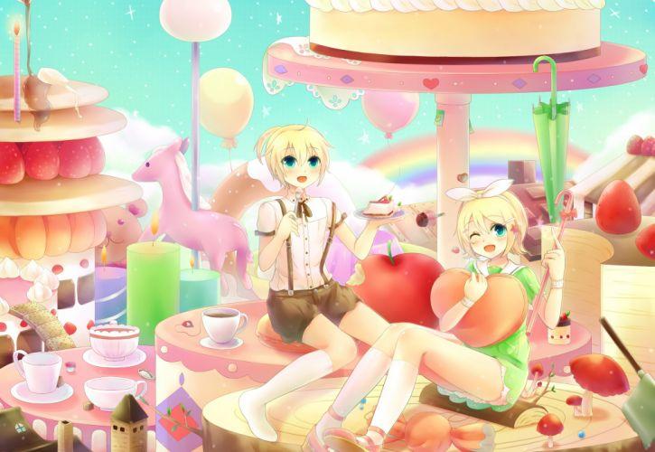 vocaloid apple blonde hair blue eyes bow cake candy dress food headband kneehighs sakakidani short hair strawberry teddy bear umbrella vocaloid wink wallpaper