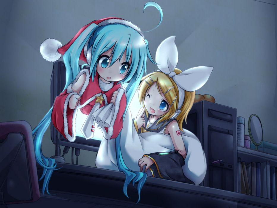 vocaloid akino coto aqua eyes aqua hair blonde hair blue eyes christmas computer hat hatsune miku kagamine rin long hair short hair twintails vocaloid wink wallpaper