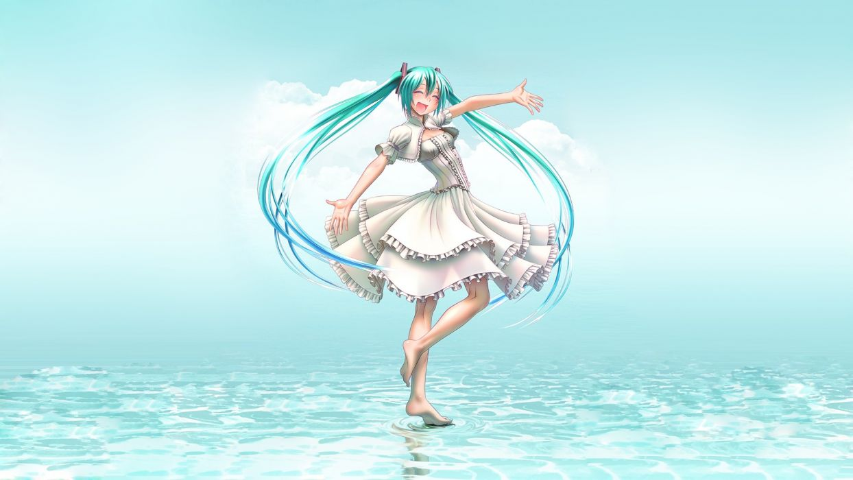 vocaloid aqua eyes aqua hair barefoot dress hatsune miku takouji vocaloid wallpaper