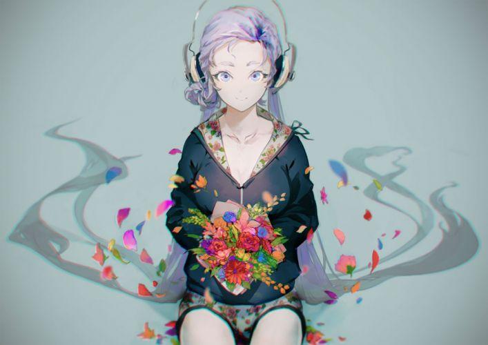 vocaloid blue eyes blue hair flowers hatsune miku headphones long hair petals sugimoto gang twintails vocaloid wallpaper