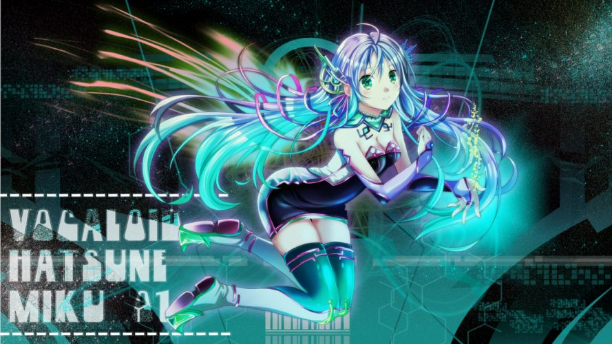 vocaloid aqua hair boots green eyes hatsune miku long hair mariwai (marireroy) thighhighs vocaloid wallpaper
