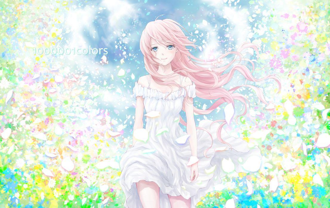 vocaloid blue eyes dress long hair megurine luka nuwanko pink hair vocaloid wallpaper