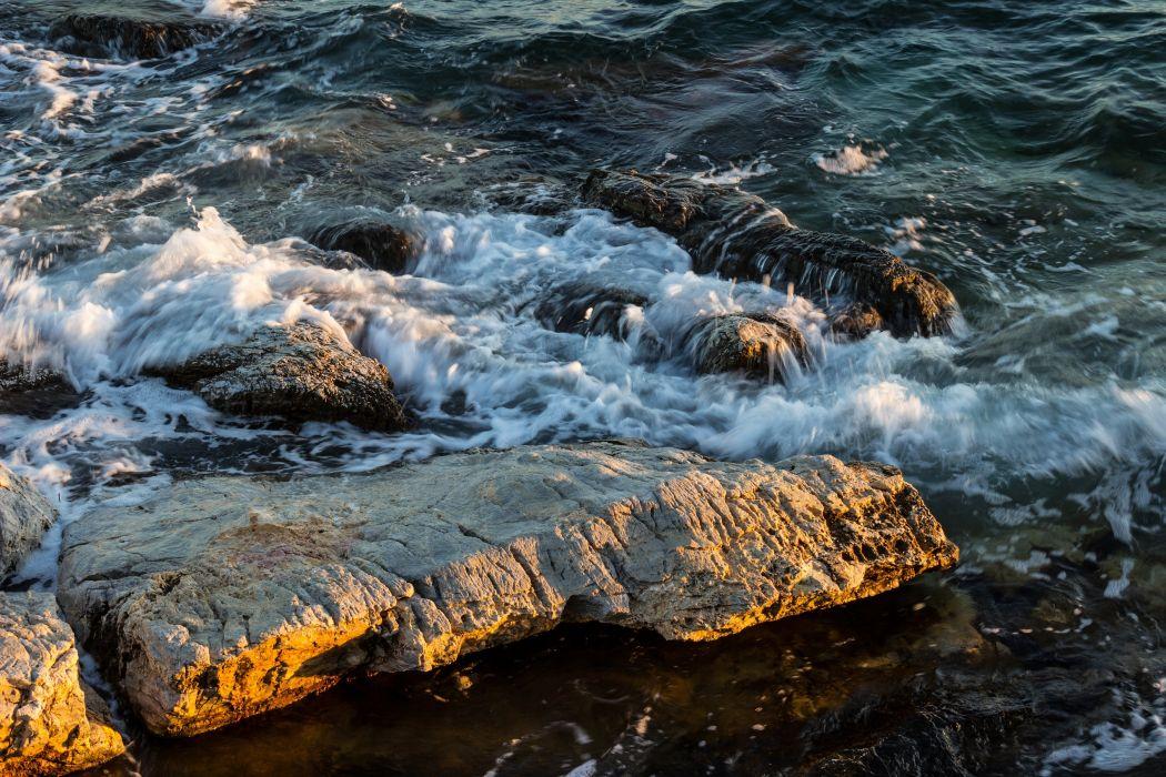 water rocks wave foam beach surf spray wallpaper