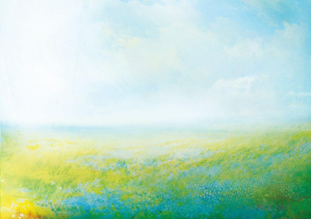 wind sky meadow flowers clouds grass wallpaper