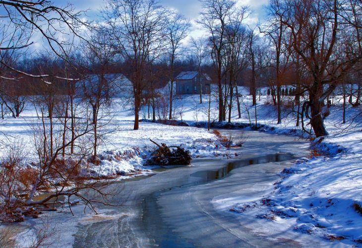 winter river trees house landscape wallpaper
