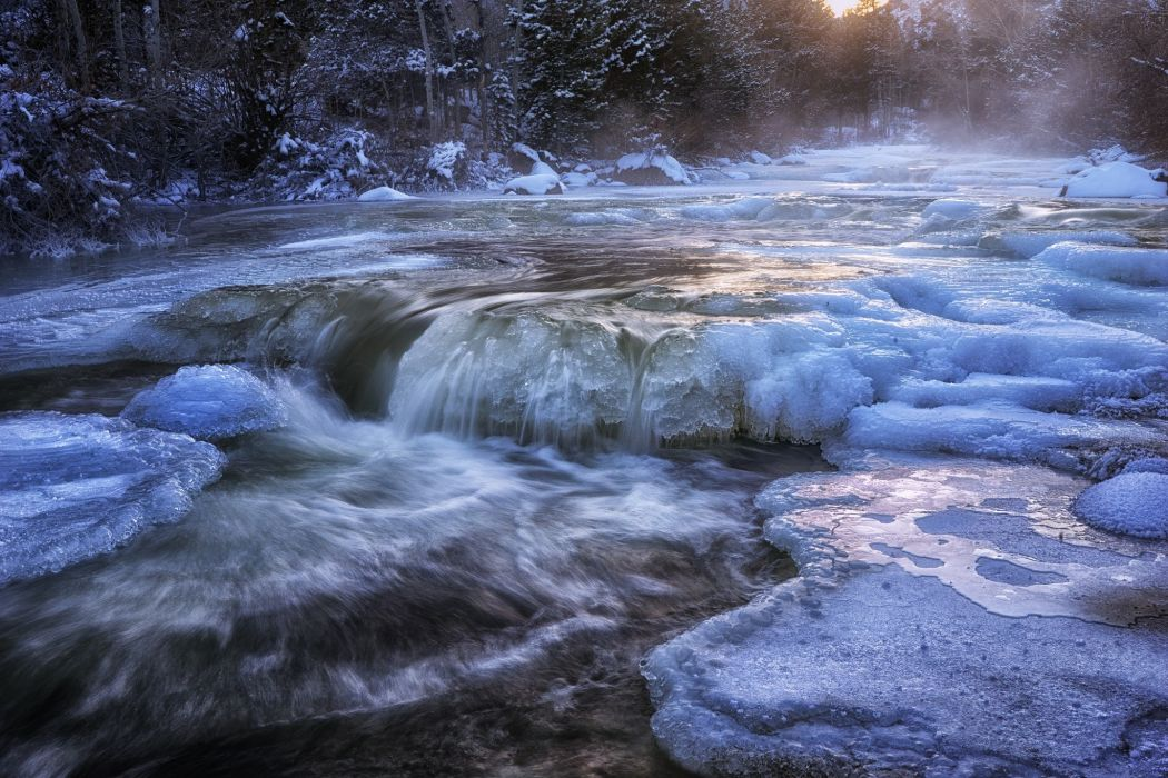 winter snow ice river stream water stream cold forest wallpaper