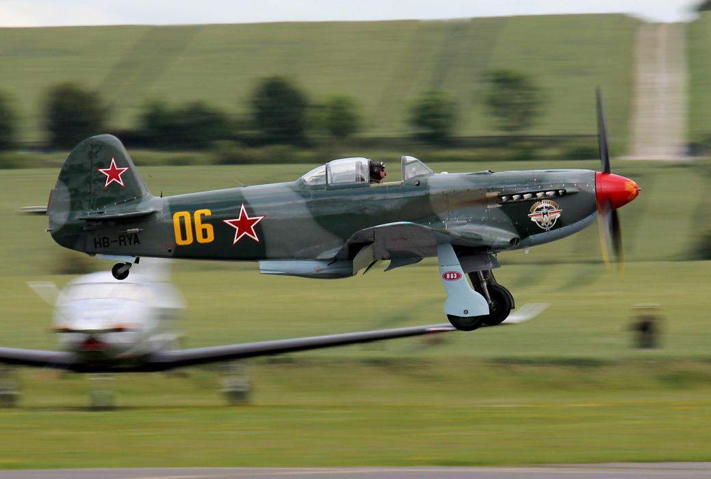 YAK-9um Soviet  single-Engine fighter  BOB military retro wallpaper