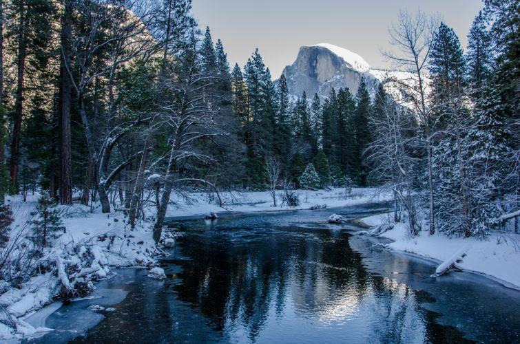 Yosemite National Park winter river trees mountains landscape wallpaper
