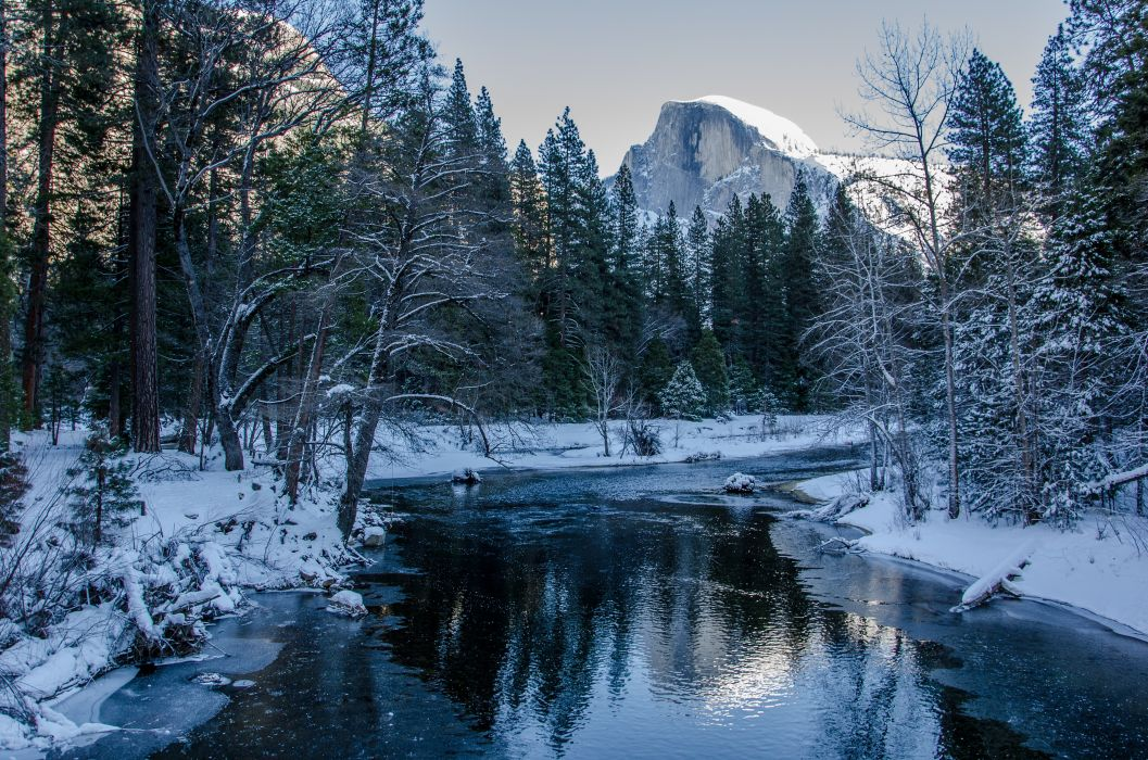 Yosemite National Park winter river trees mountains landscape wallpaper