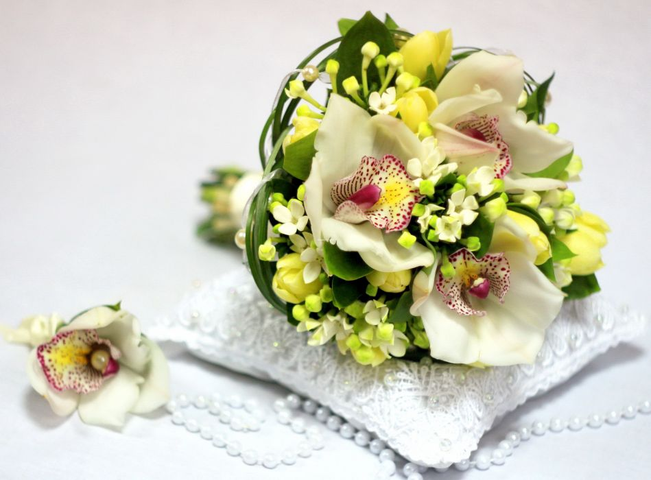 Bouquets Orchid Tulips Flowers wallpaper