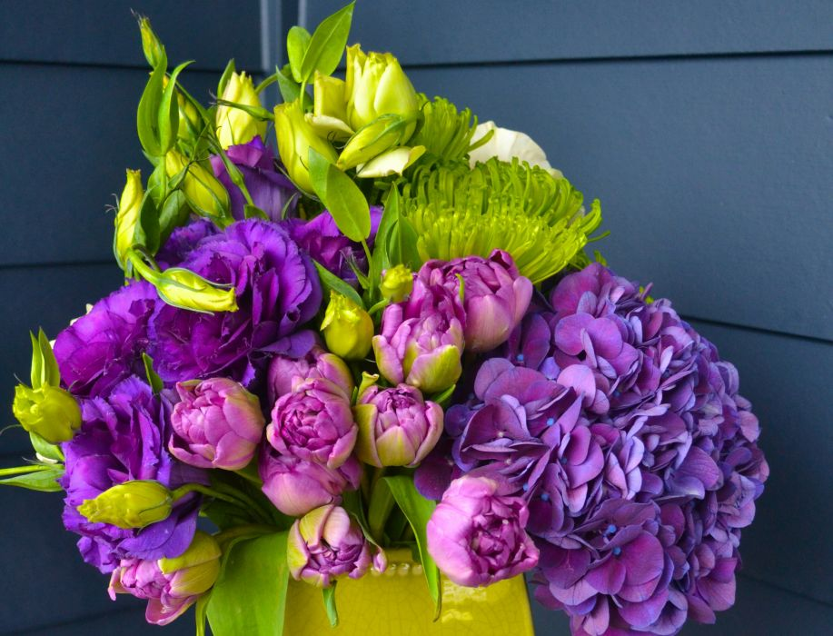 Bouquets Hydrangea Tulips Roses Chrysanthemums Eustoma Flowers wallpaper