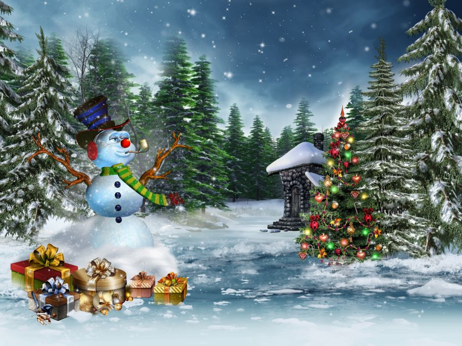 Holidays Christmas ( New year ) Winter Christmas tree Snowmen Fir Gifts Snow wallpaper