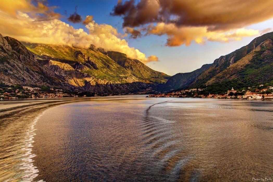 Montenegro Sea Mountains Coast Cities Nature wallpaper