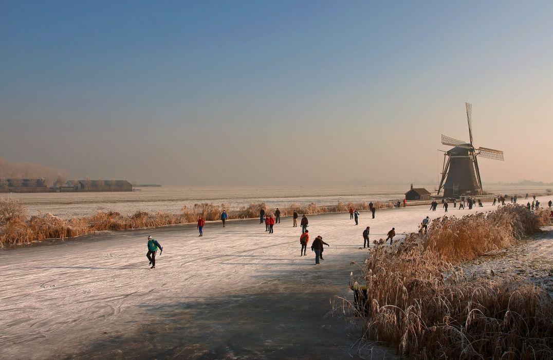 Netherlands Mill Nature wallpaper