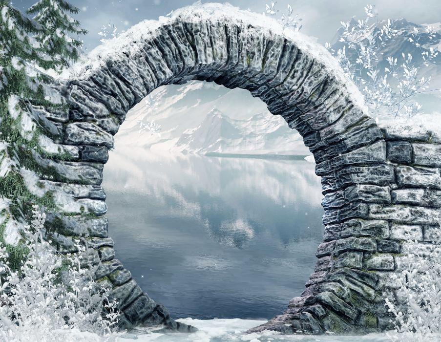 Seasons Winter Brick Nature wallpaper