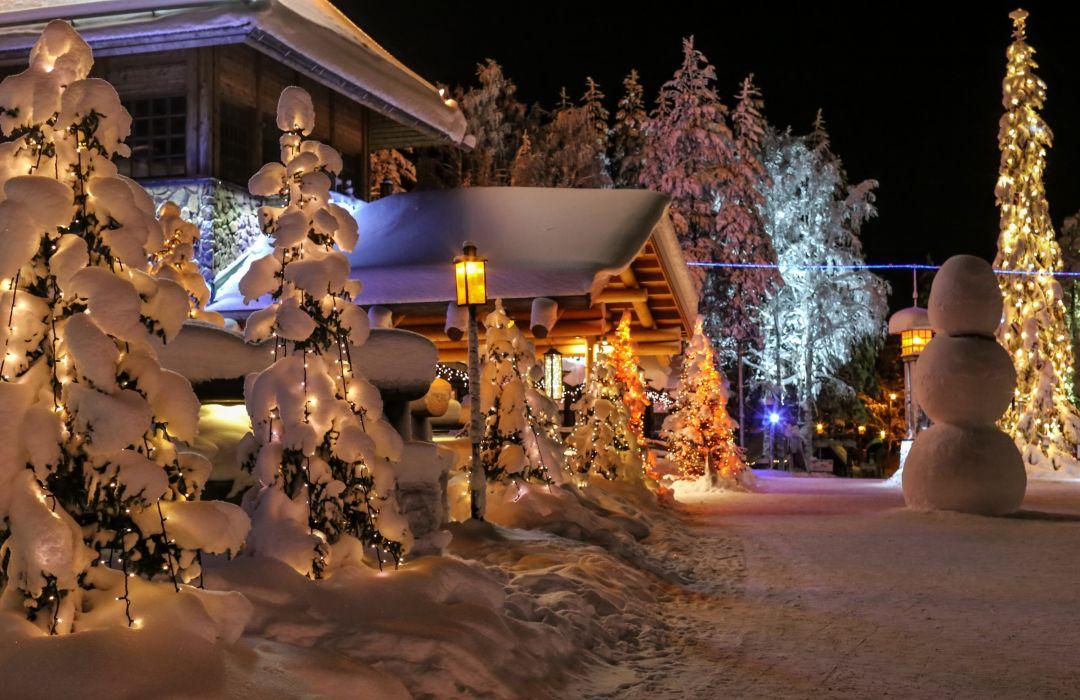 Seasons Winter Finland Lapland Snow Fir Snowmen wallpaper