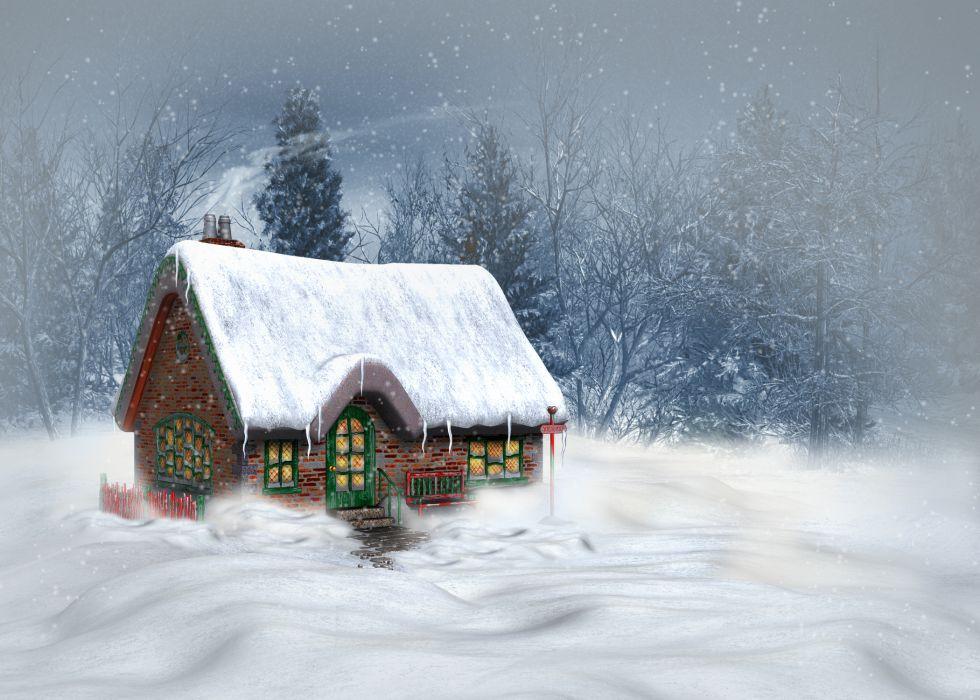 Seasons Winter Houses Snow Nature 3D Graphics wallpaper