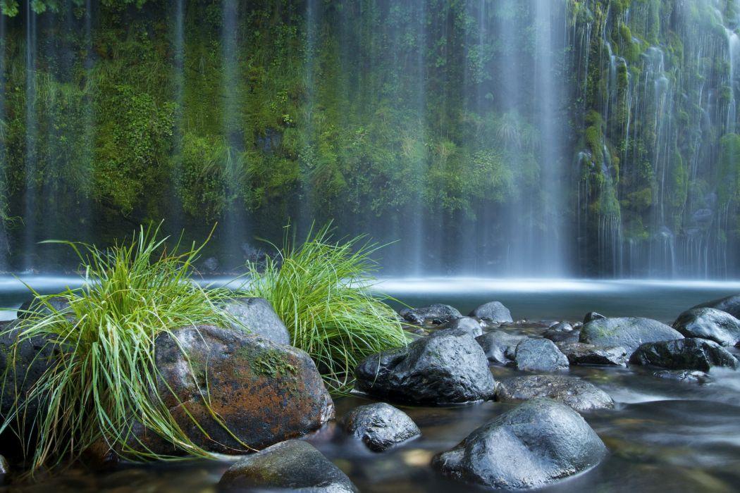 Waterfalls Stones USA moss wallpaper