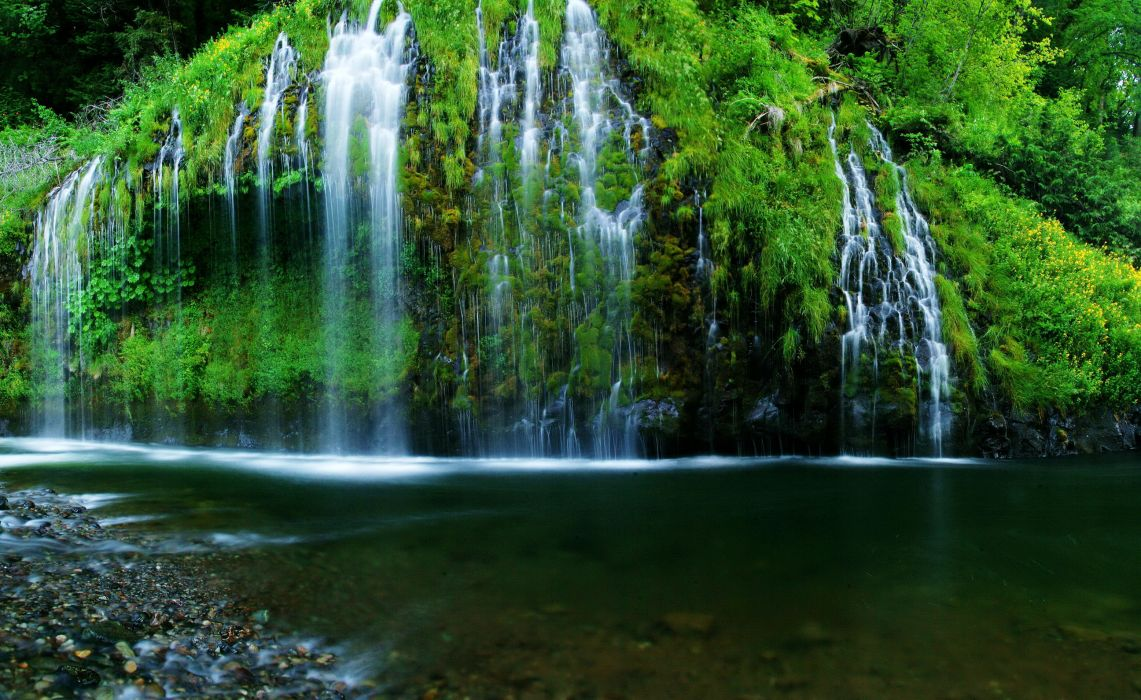 Waterfalls Rivers USA mossbrae California Nature    t wallpaper