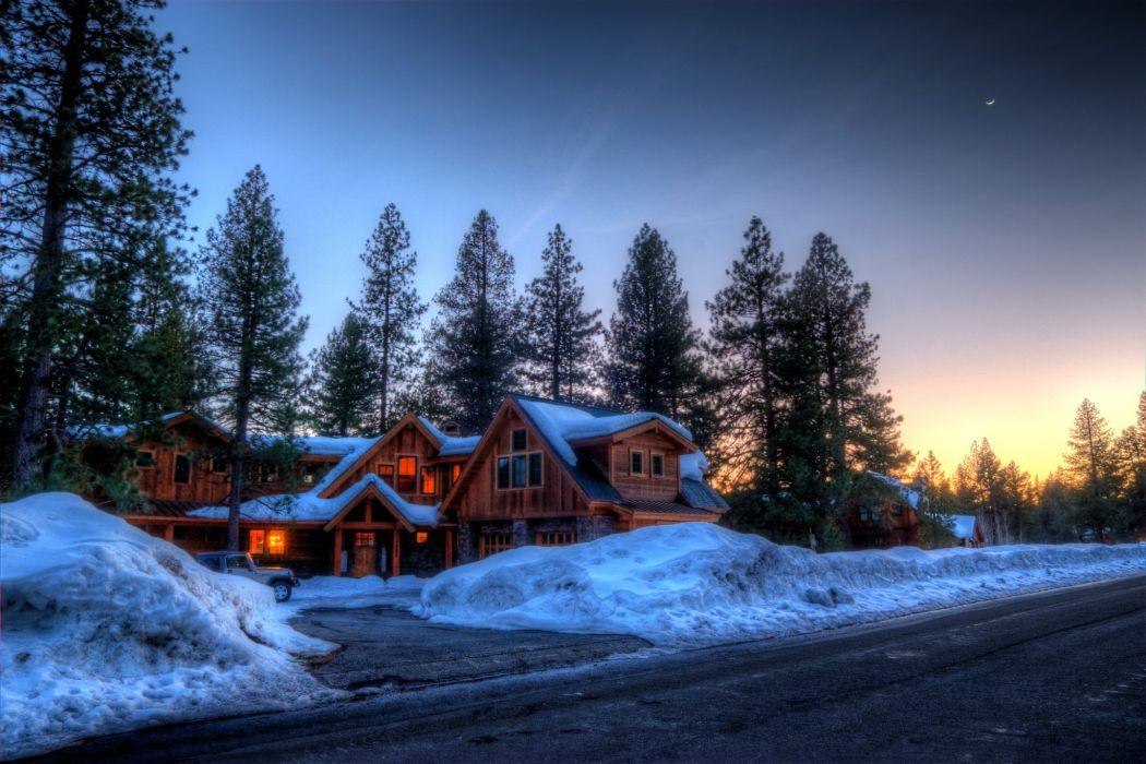Winter Canada Roads Seasons Mansion Fir Snow Nature wallpaper