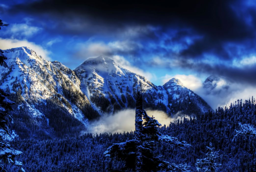 Winter Mountains USA Snow HDR wallpaper