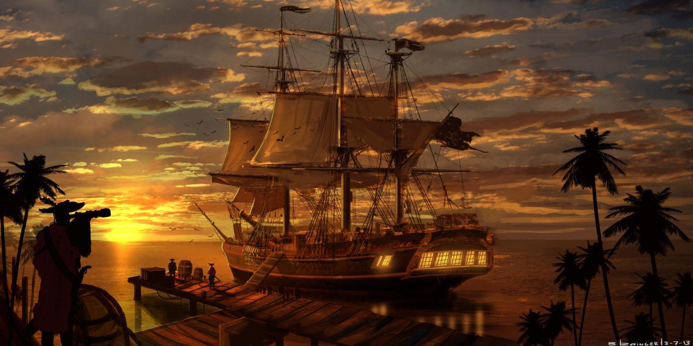 Assassins Creed fantasy ship boat wallpaper