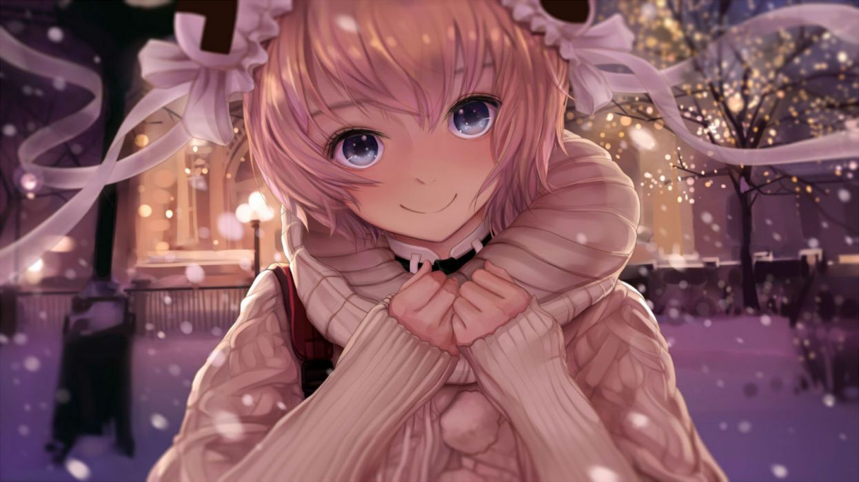 acfun ac girl blonde hair blue eyes blush li27n short hair snow tree winter wallpaper