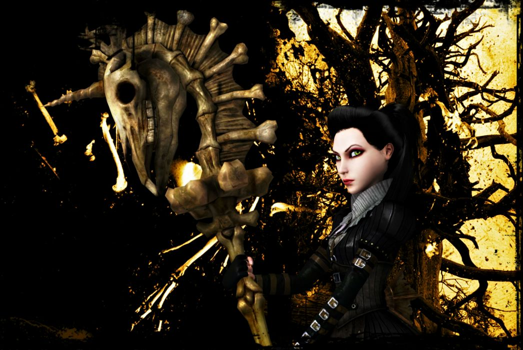 Alice American McGees Skulls Mage Staff Games fantasy dark skull wallpaper