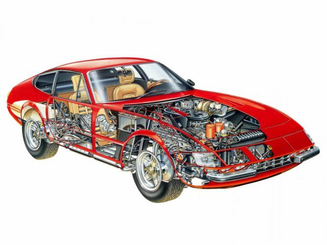 1971-73 Ferrari 365 GTB4 Daytona supercar engine interior h wallpaper