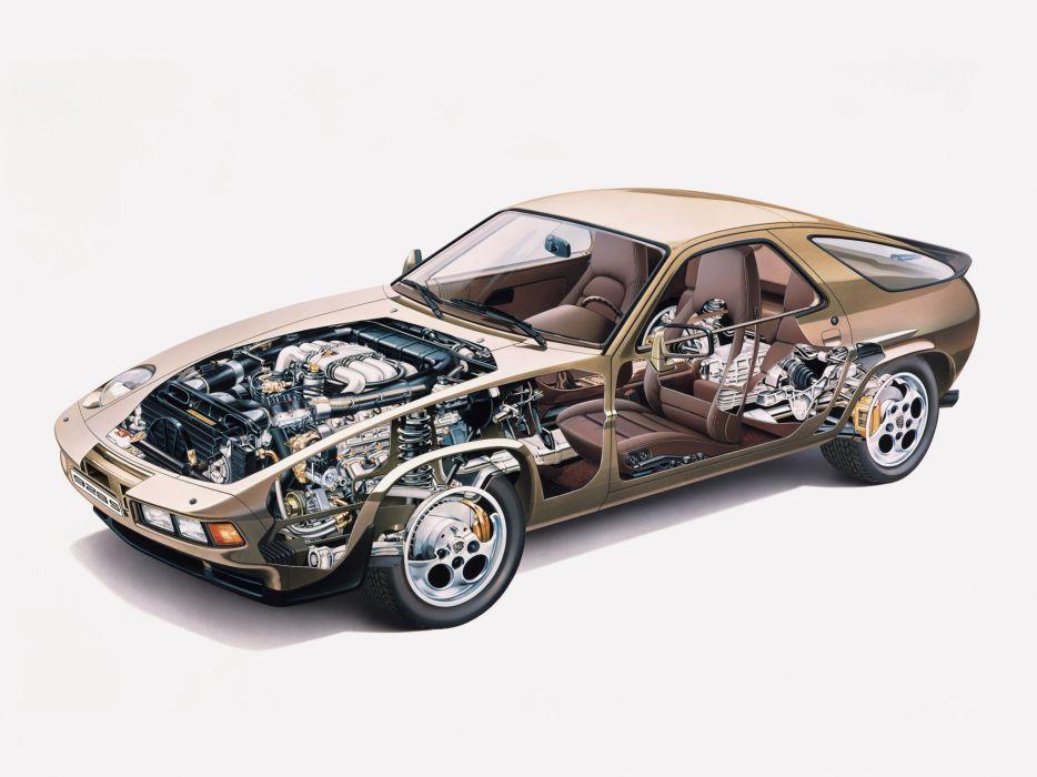 1980 Porsche 928 S supercar engine interior    f wallpaper