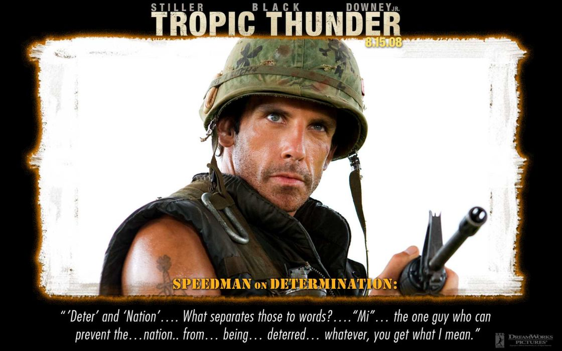 TROPIC THUNDER action comedy military weapon (1) wallpaper
