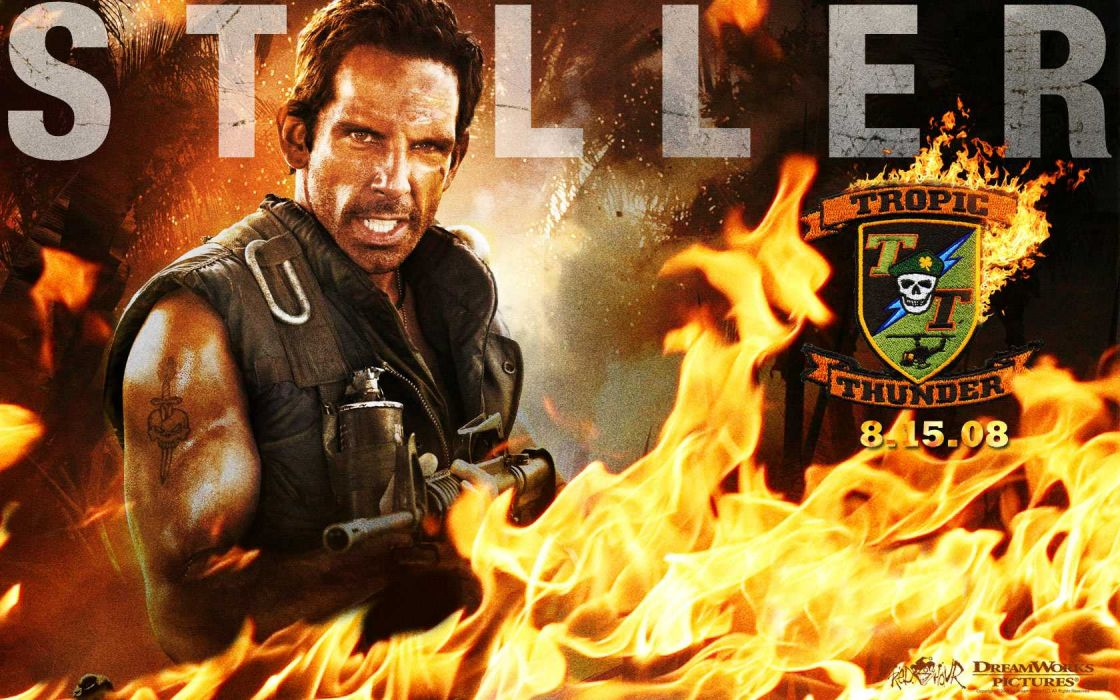 TROPIC THUNDER action comedy military weapon (14) wallpaper